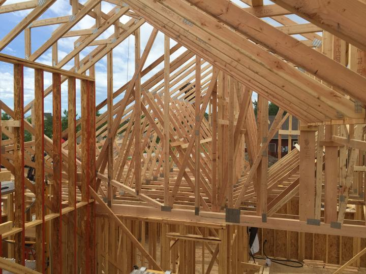 Roof trusses from second floor