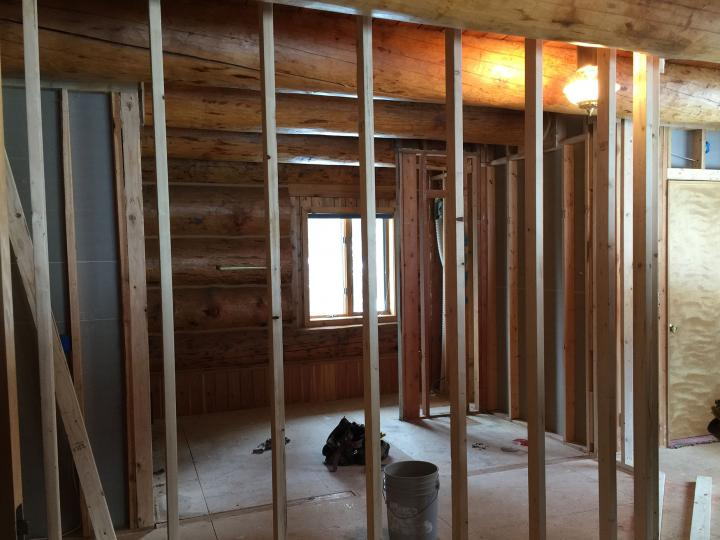 Rough framing for new walls.