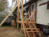 re roof and front deck with stairs